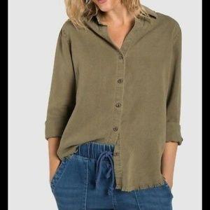 Cloth & Stone Olive Fray Hem Buttondown Shirt